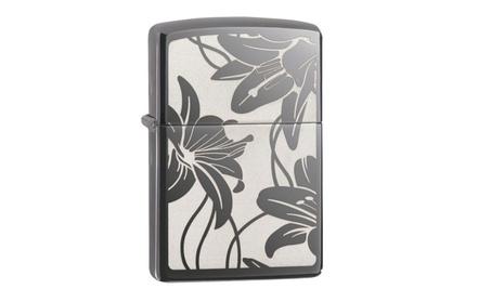 Zippo Lily Pocket Lighter, Black Ice 29426 770705e8-f928-4273-9cb9-c0d2101c8f1f