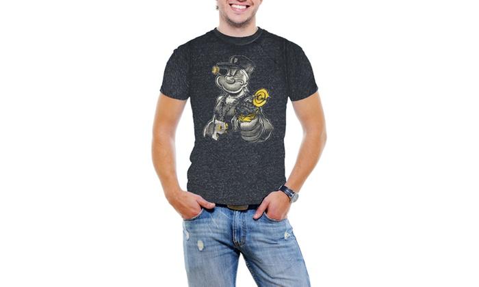 Gangster Popeye Men Acid Wash T-Shirt Soft Cotton Short Sleeve Tee