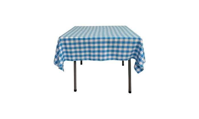 LA Linen TCcheck52x52 TurquoiseK40 Polyester Gingham Checkered Square  Tablecloth