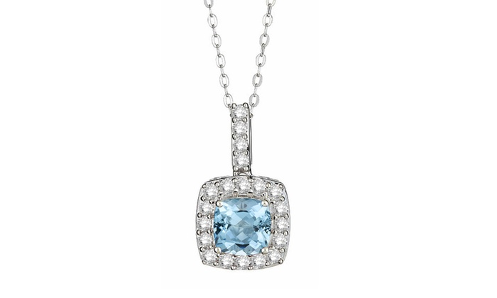and item pendant topaz white sapphire created blue