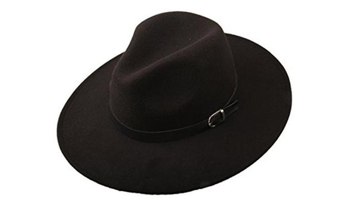 2b6ecd1b61c Dantiya Women s Wide Brim Wool Fedora Panama Hat with Belt