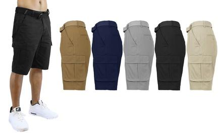 2-Pack Men's Cotton Flex Cargo Shorts With Belt (Sizes, 30-40) Was: $79.98 Now: $23.99.