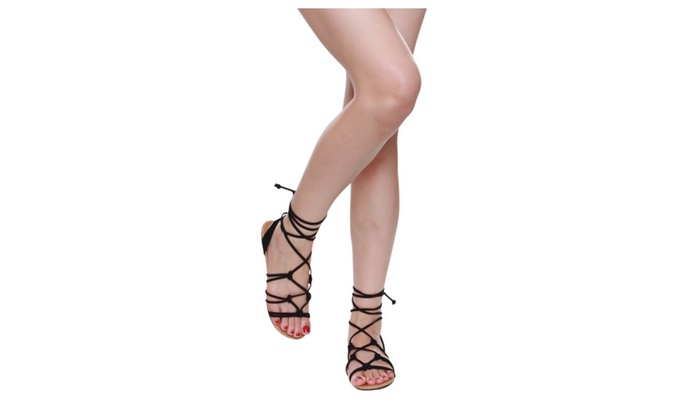 Beston IA34 Women's Lace Up Knotted Ankle Wrap Flat Sandals