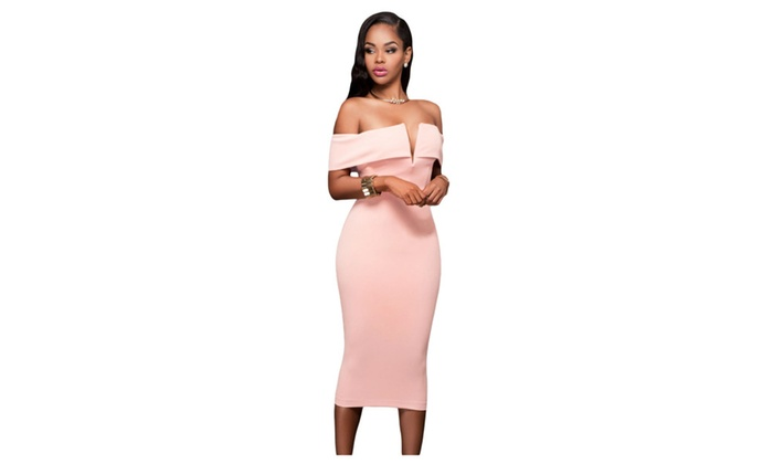 Women's Pink Off-the-shoulder Midi Dress