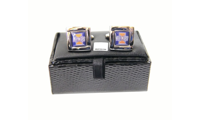 NCAA Illinois Illini Square Cufflinks with Square Shape Engraved