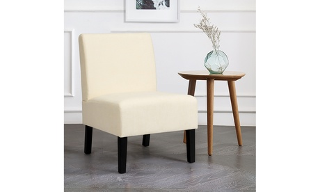 Armless Accent Fabric Leisure Chair w/Rubber Wood Legs Gray/Beige