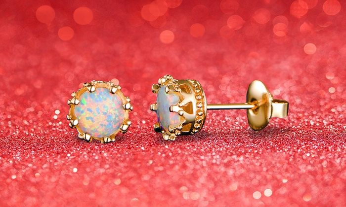 1ab284620 Up To 62% Off on White Fire Opal Crown Studs   Groupon Goods