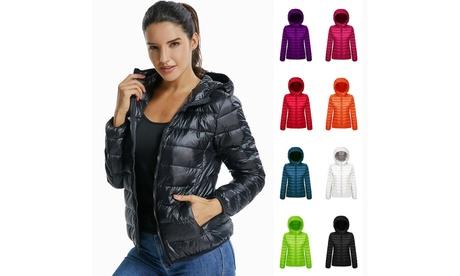Womens Down Jacket Warm Puffer Coat Duck Goose Hoodie Thin Ultralight Packable