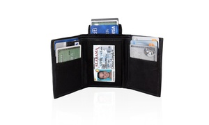AFONiE Genuine Leather Trifold Wallet For Men