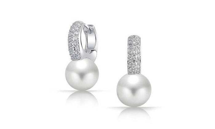 Bling Jewelry: Bling Jewelry CZ White Simulated Pearl Huggie Earring Rhodium Plated