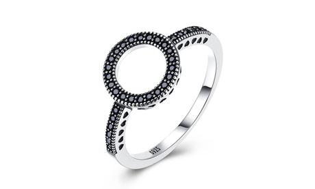 0.925 Sterling Silver Black Crystal Hollow Circular Ring b9e129cc-8b12-4bfb-879c-db4c6cd2a3c3