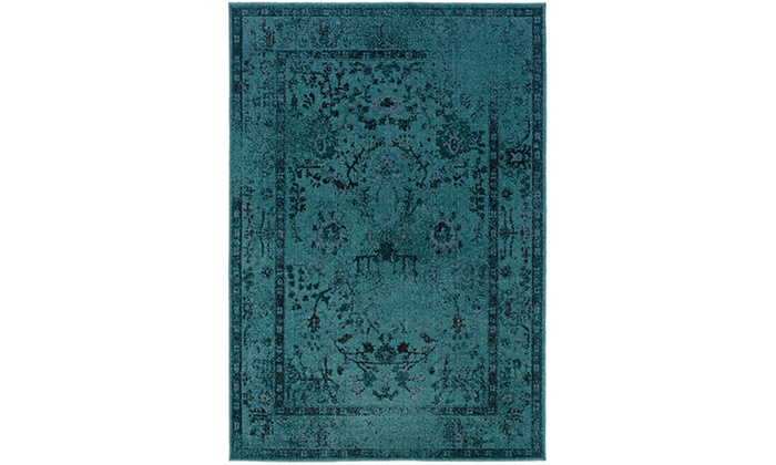 Monarch Vincent Teal Grey Overdyed Area Rug Groupon