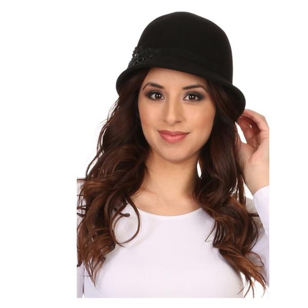 72ed48afede00 Perla Vintage Wool Cloche Bucket Embroidered Beaded Embellish Hat ...