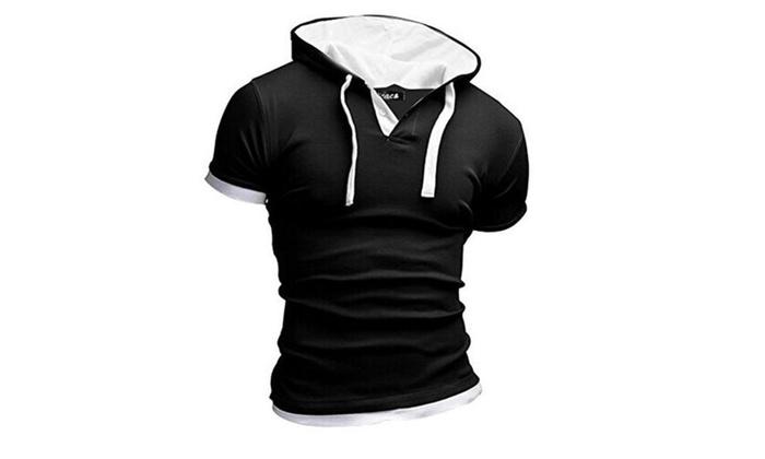 Men's Slim Fit Short Sleeve Hooded Cotton Shirt