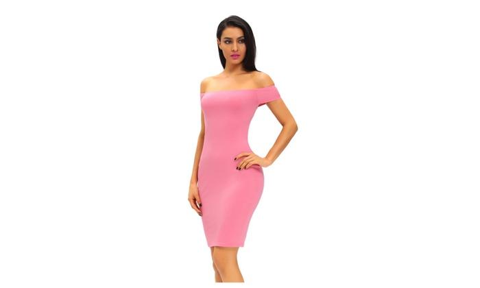Women's Pink Crisscross Off Shoulder Bodycon Dress