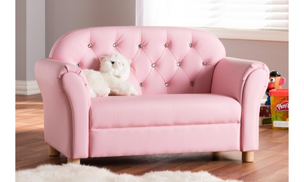 Gemma Kids Pink Faux Leather 2-seater Sofa