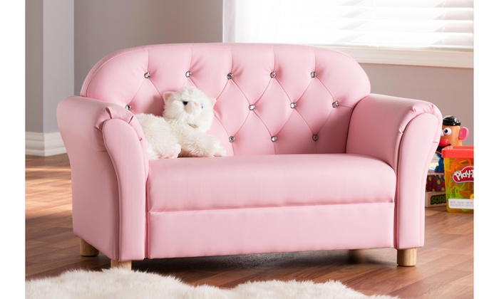 Pink Faux Leather 2 Seater Sofa