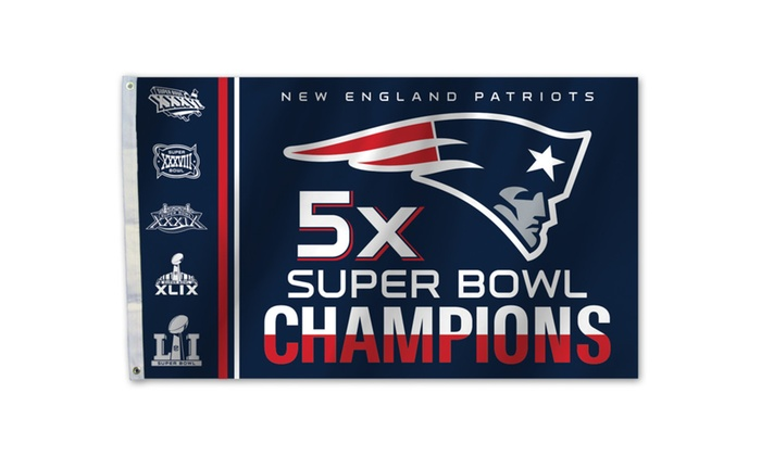 Patriots 5X Champ 3 X 5 Flag with Flag W/Grommetts