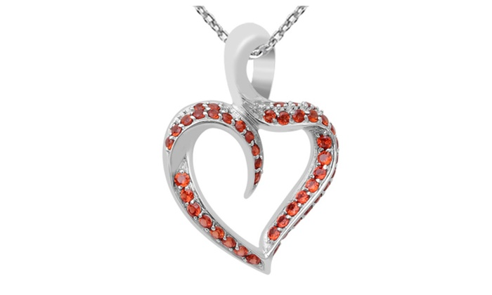Orchid jewelry 925 sterling silver 4 14 carat garnet heart orchid jewelry 925 sterling silver 4 14 carat garnet heart necklace mozeypictures Images