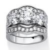 3 Piece 4.43 TCW Round Cubic Zirconia Bridal Ring Set in Silvertone