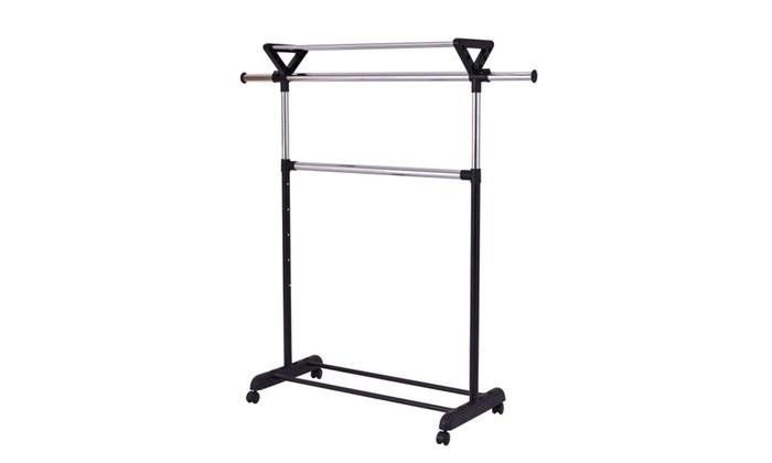 2 Rod Garment Rack Adjustable Clothes Hanger Rolling Closet Shelf ...