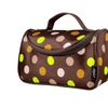 Zodaca Brown Multicolor Dots Travel Organizer Bag Makeup Case w Mirror