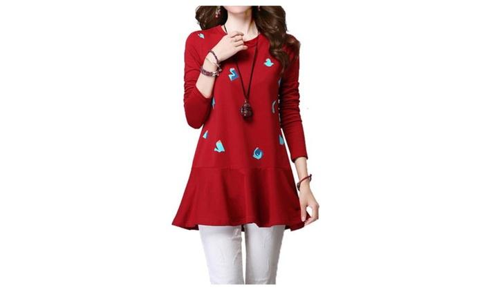Women's HiddenZipper Graphic Cotton Blend Loose Dress