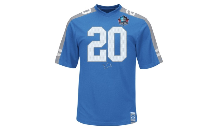 cheap for discount 95278 36239 Barry Sanders Detriot Lions Hall of Fame Hashmark Blue Jersey T-shirt