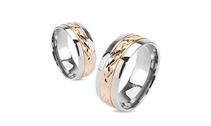Strip Rose Gold IP Solid Titanium Band Ring