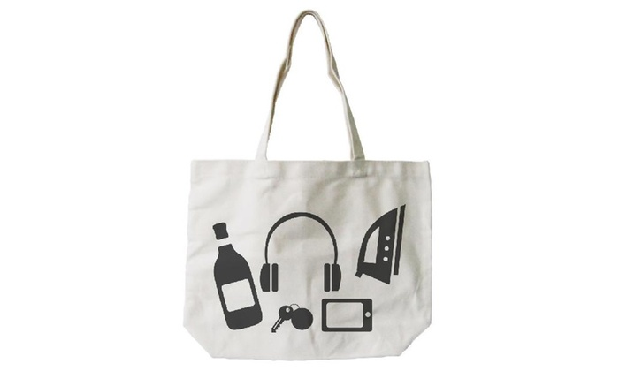 Funny Random Personal Belongings Canvas Bag Mother's Day Grocery Bags