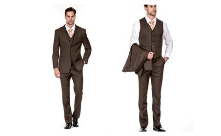 Porto Filo 3pcs Brown Pin-Stripe suits
