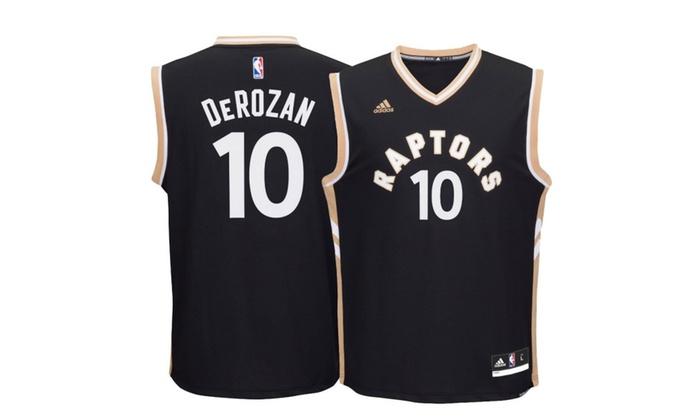new style 70fcd b43fb Toronto Raptors Demar DeRozan Youth Black Alternate Drake Jersey