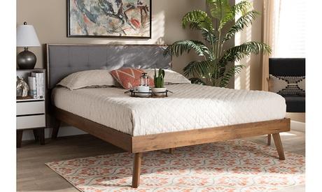 Alke Fabric Upholstered Walnut Brown Finished Wood Platform Bed