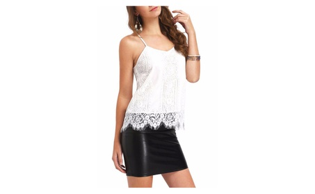 Women White Lace Top With Strap Style Blouse - UWSB892-UWSB893 0c3b3a32-1ca8-4522-8a15-2fd686205f11