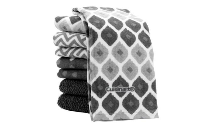 Cuisinart Kitchen Towels, 8 Pack Set, Grey