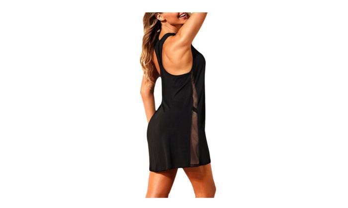 1b6df7dca2fe4 Women Mesh Side Racerback Beach Dress Sleeveless Swimsuit Cover Ups ...
