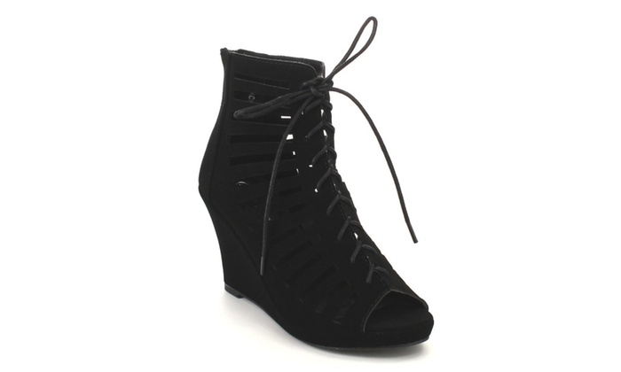 Beston CB85 Peep Toe Lace Up Cut Out Gladiator Wedge Heel Ankle Bootie