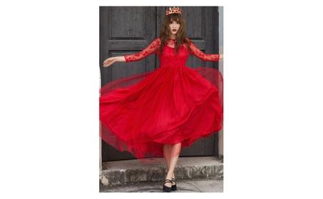 Women Sheer Lace Sleeves Long Bridemaid Dress Red - TCWD493 1be3657d-76c5-4296-b028-93d1dbc86d57