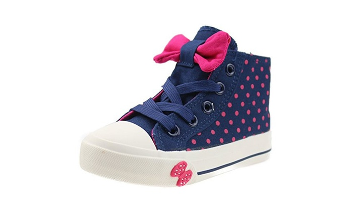 32aec201e16b Girls High-top Lace Bows Canvas Shoes for Toddler or Little Kid - Dark Blue    11 M US Little Kid