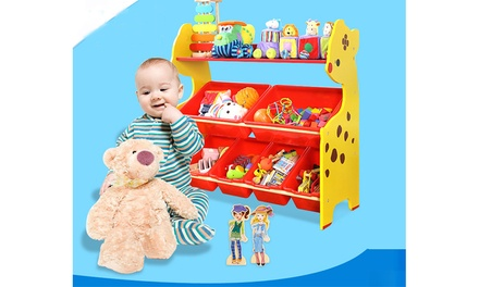Toddler's Toy Storage Organizer with 6 Plastic Shelf Drawer for Kid's Playroom