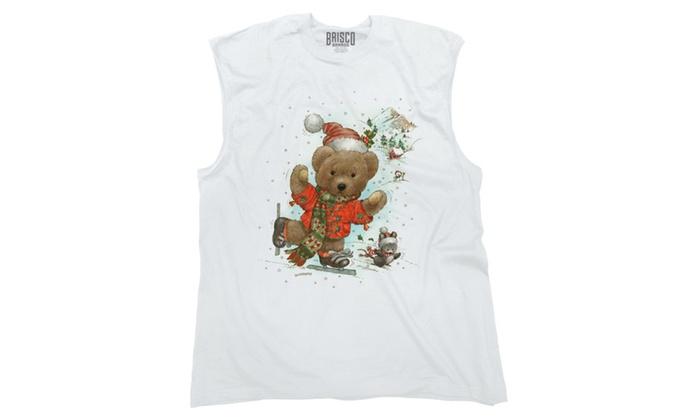 Skiing Christmas Teddy Bear Sleeveless T-Shirt