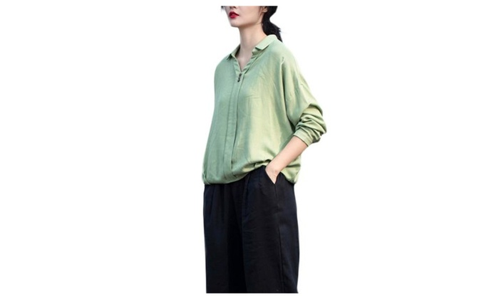 Women's Pullover Casual Solid Slim Fit Long Sleeve Blouse - Green / One Size