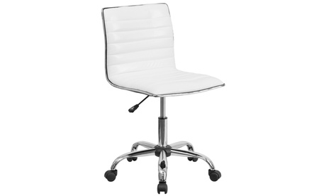 Low Back Armless Ribbed Designer Swivel Task Chair d01e6b72-66ad-4364-a764-cc7d53ee618a