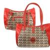 Zodaca Jacquard Fabric Tote Bag Red