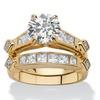 3.14 TCW CZ 2-Pc. Bridal Set 18k Gold/.925 Silver