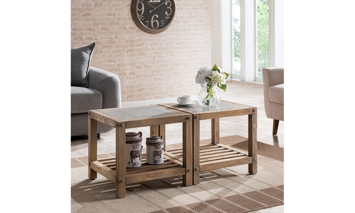 ... Cleary Reclaimed Wood Bunching Cocktail Table Set  Aged Natural W/  Cement Gray