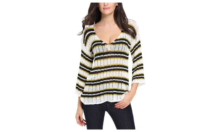 Women's Braid Fashion Striped Straight Hem Pullovers Sweater