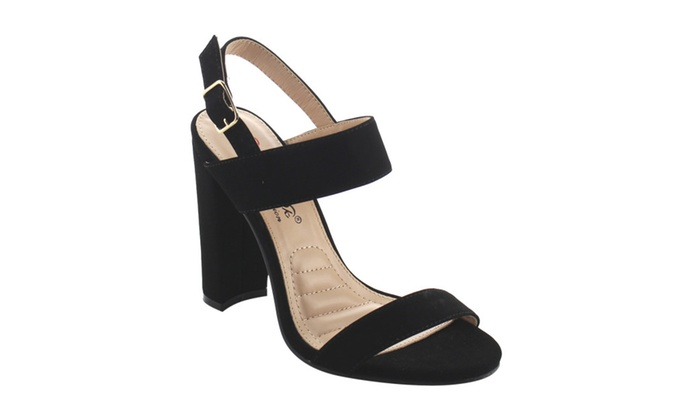 Beston AG98 Women's Stacked Chunky Heel Slingback Buckle Dress Sandals