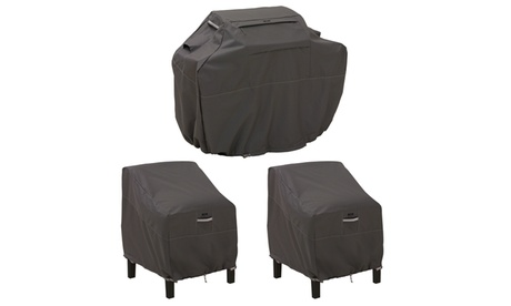 Classic Accessories Ravenna Med. Grill Cover and Patio Lounge Chair Cover Bundle 21bb5ab4-7e75-4063-8617-33315306dfeb
