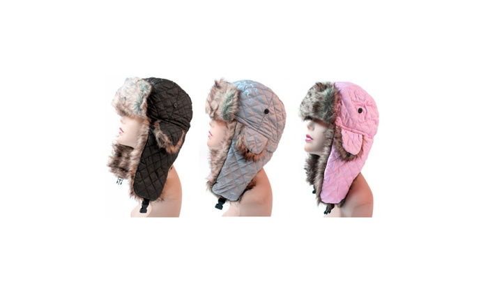 Women's Trapper Quilted Winter Ear Flap Hat 901HT (3 Set)